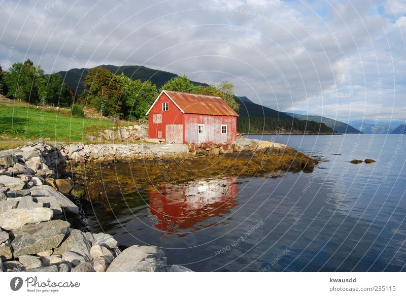 Nature Water Tree Clouds House (Residential Structure) Calm Far-off places Relaxation Mountain Moody Wellness Idyll Lakeside Serene Hut Norway