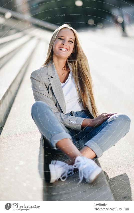 Beautiful young caucasian woman smiling outdoors Lifestyle Style Happy Hair and hairstyles Human being Feminine Young woman Youth (Young adults) Woman Adults 1