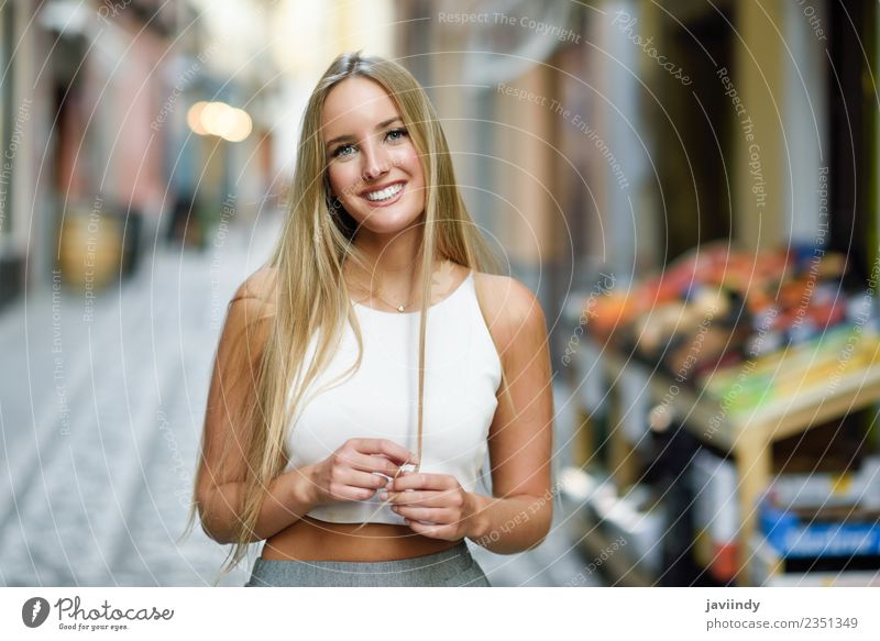 Smiling young woman in urban background. Woman Human being Youth (Young adults) Young woman Summer Beautiful White 18 - 30 years Adults Street Lifestyle Autumn