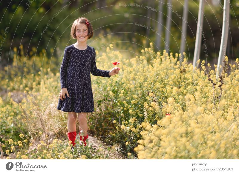Little girl in nature field with flowers in her hand. Woman Child Human being Nature Summer Beautiful Flower Joy Girl Adults Lifestyle Meadow Grass Small Happy