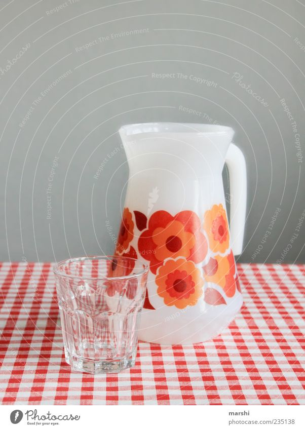 a sip of water?! Beverage Drinking water Red Water Glass Checkered Orange Retro Retro trash Retro Colours Pattern Colour photo Interior shot Tumbler Decanter