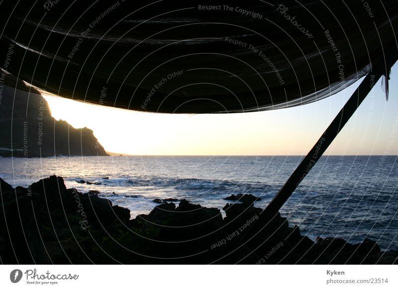 Water Sky Ocean Wood Stone Coast Rock Europe Prop Joist Canopy Fishing net