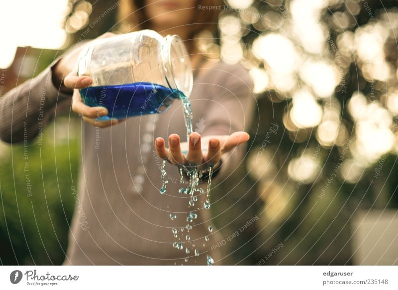 refreshingly Glass Hand Water Drops of water To hold on Blue Refreshment Colour photo Multicoloured Exterior shot Detail Copy Space right Dawn Day
