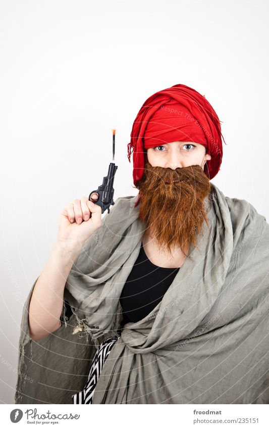 Human being Woman Man Adults Funny Feasts & Celebrations Masculine Carnival Facial hair Trashy Aggression Carnival costume Weapon Handgun Shot Rebellious