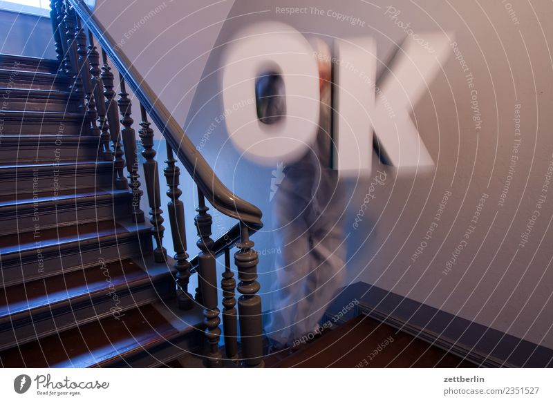 Okay OK Letters (alphabet) Capital letter Remark Appraise Opinion Decision Landing Descent Downward Go up Upward Handrail Banister House (Residential Structure)