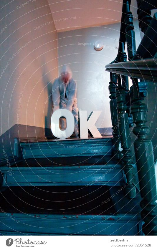 OK (4) Landing Descent Downward Go up Upward Window Handrail Banister House (Residential Structure) Man Apartment house Human being Deserted