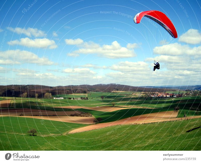 Human being Blue Green Red Clouds Far-off places Landscape Meadow Above Freedom Jump Wind Field Leisure and hobbies Flying Adventure