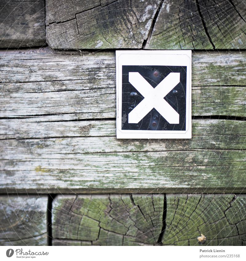 The X Wood Sign Characters Signs and labeling Signage Warning sign Letters (alphabet) Colour photo Exterior shot Close-up Detail Pattern Structures and shapes