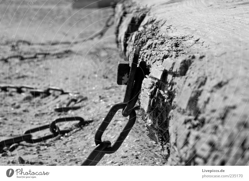 ...in chains... Sand Coast Beach Steel Old Dark Black & white photo Exterior shot Deserted Day Contrast Sunlight Chain Fastening Wood