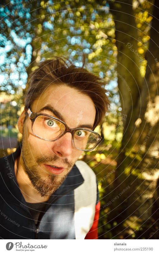 nerd in nature Masculine Man Adults 1 Human being 30 - 45 years Eyeglasses Hip & trendy Nerdy Disbelief Perturbed Whimsical Ask Perplexed Gaze Scare Amazed