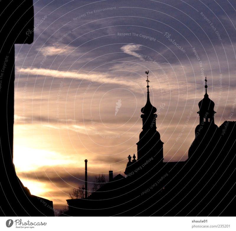 Old Town Dawn City trip Sky Sunrise Sunset Deserted Church Castle Yellow Gold Black Moody Belief Religion and faith Colour photo Exterior shot Evening Twilight