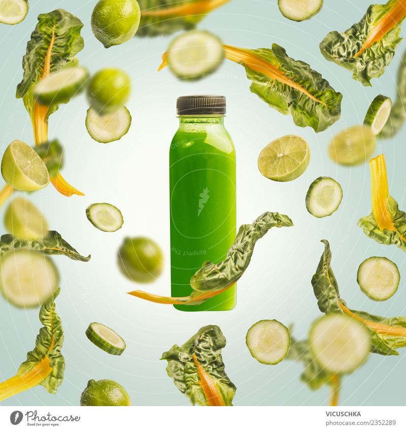 Bottle with green drink. Juice or smoothie Food Vegetable Fruit Nutrition Organic produce Vegetarian diet Diet Beverage Cold drink Lemonade Shopping Style