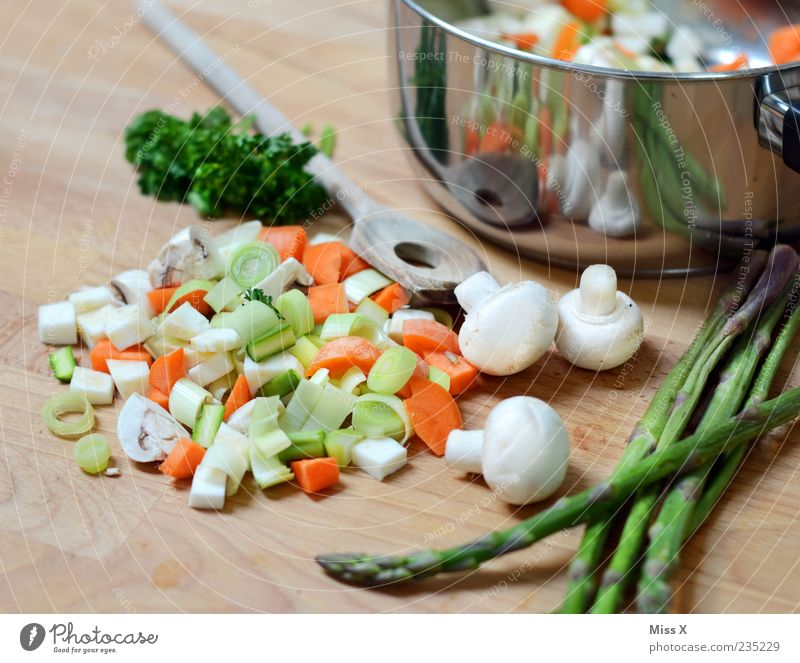 Nutrition Food Fresh Cooking & Baking Kitchen Vegetable Herbs and spices Delicious Mushroom Dinner Organic produce Diet Pot Cut Spoon Carrot