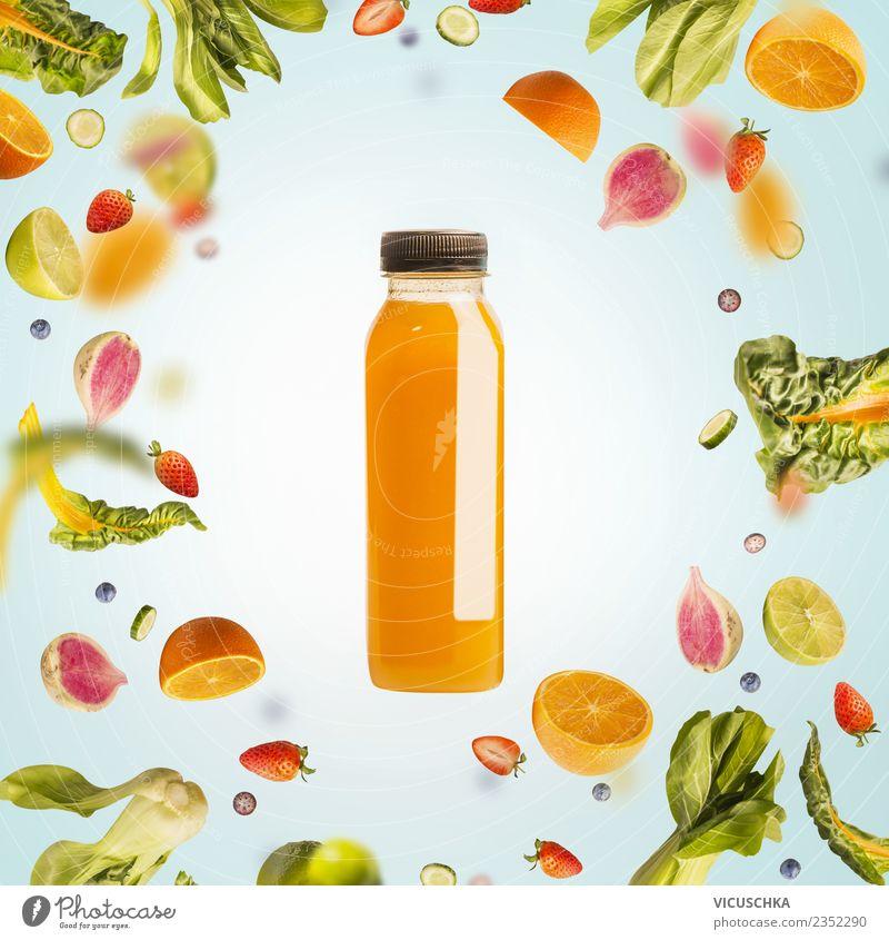 Flacshe with yellow summer drink , fruit and fruit Food Vegetable Fruit Orange Nutrition Organic produce Vegetarian diet Diet Beverage Cold drink Lemonade Juice