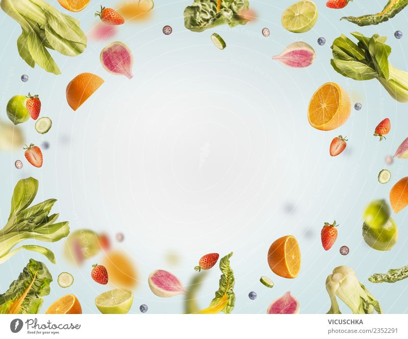 Flying fruit and vegetable frame Food Vegetable Lettuce Salad Fruit Apple Orange Nutrition Organic produce Vegetarian diet Diet Juice Style Design Healthy