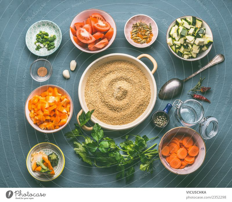 Couscous with vegetable ingredients in bowls Food Vegetable Grain Herbs and spices Nutrition Lunch Organic produce Vegetarian diet Diet Crockery Plate Bowl Pot
