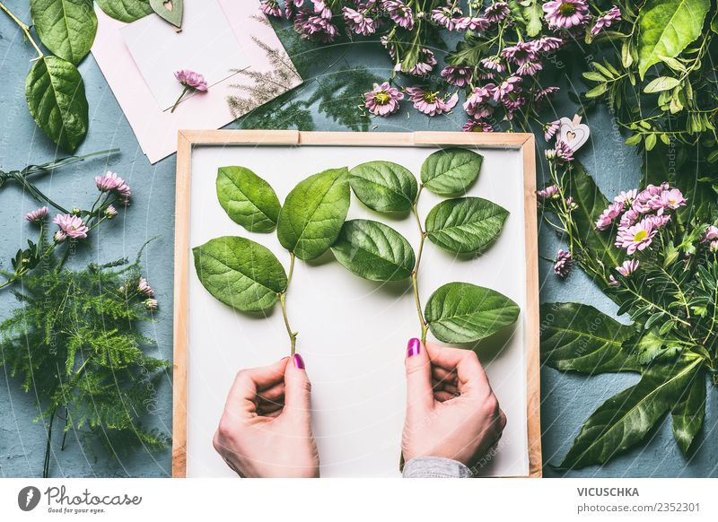 Female hands nalten green twigs for bouquet of flowers Style Design Leisure and hobbies Decoration Feasts & Celebrations Feminine Woman Adults Hand Plant Flower