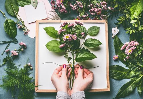 Female hands make bunch of flowers Style Design Leisure and hobbies Human being Feminine Woman Adults Hand Plant Flower Decoration Bouquet Hip & trendy Green
