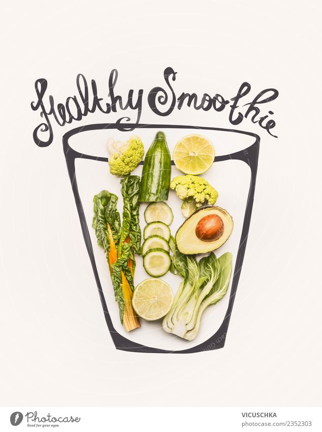 Green Healthy Smoothie Ingredients in Glass Food Vegetable Fruit Beverage Cold drink Lemonade Juice Style Design Healthy Eating Fitness Yellow Broccoli