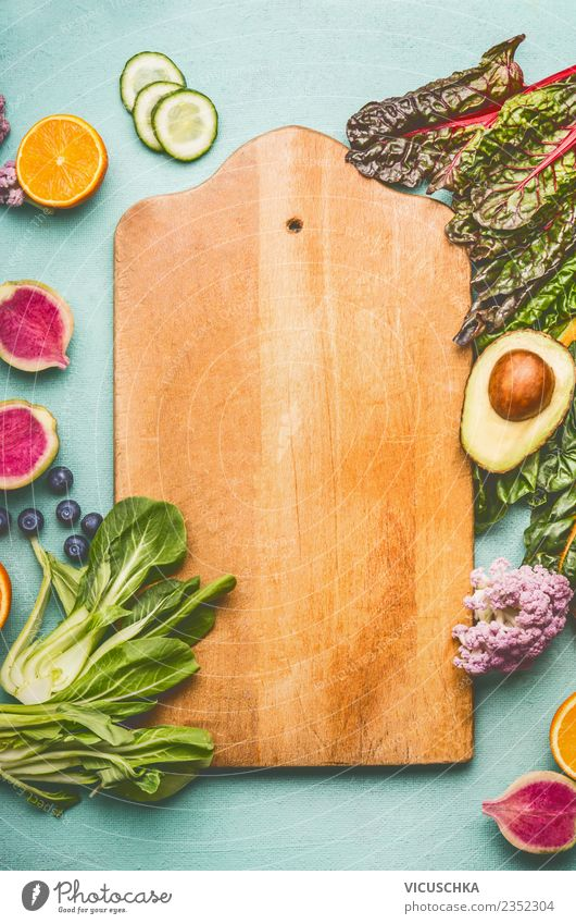Cutting board background with fruit and vegetables Food Vegetable Fruit Nutrition Organic produce Vegetarian diet Diet Shopping Style Design Healthy