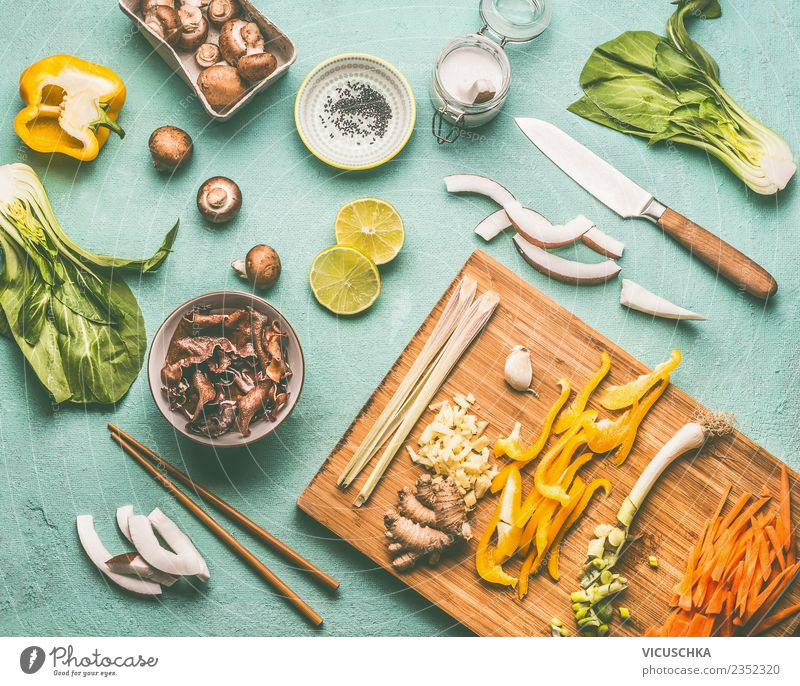 Asian cuisine, Ingredients Food Vegetable Lettuce Salad Herbs and spices Nutrition Lunch Asian Food Crockery Bowl Knives Style Design Healthy Healthy Eating