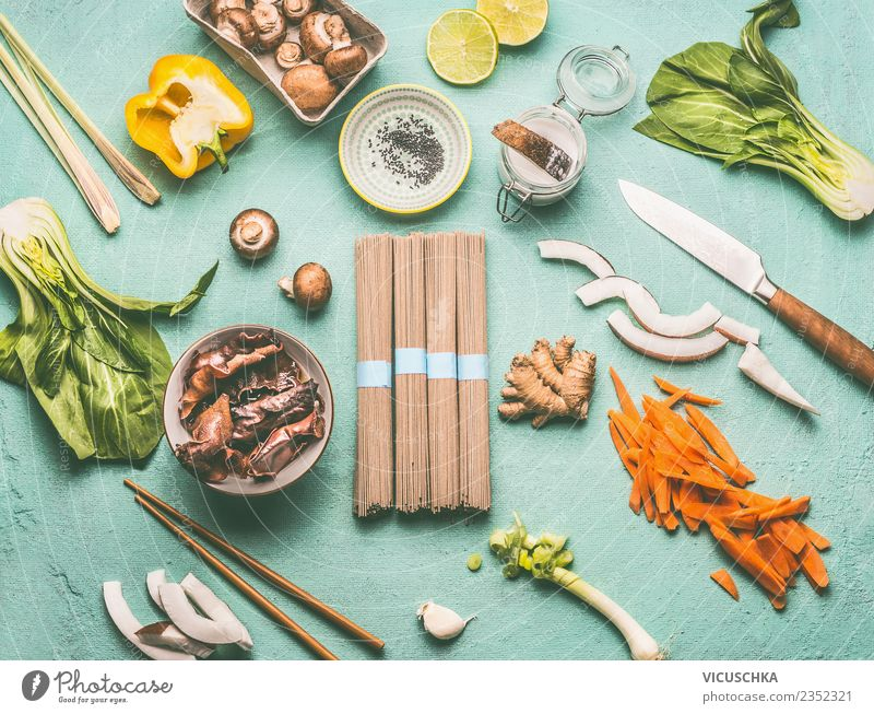 Asian Cuisine Ingredients Food Vegetable Lettuce Salad Herbs and spices Nutrition Lunch Organic produce Vegetarian diet Diet Asian Food Crockery Knives Style
