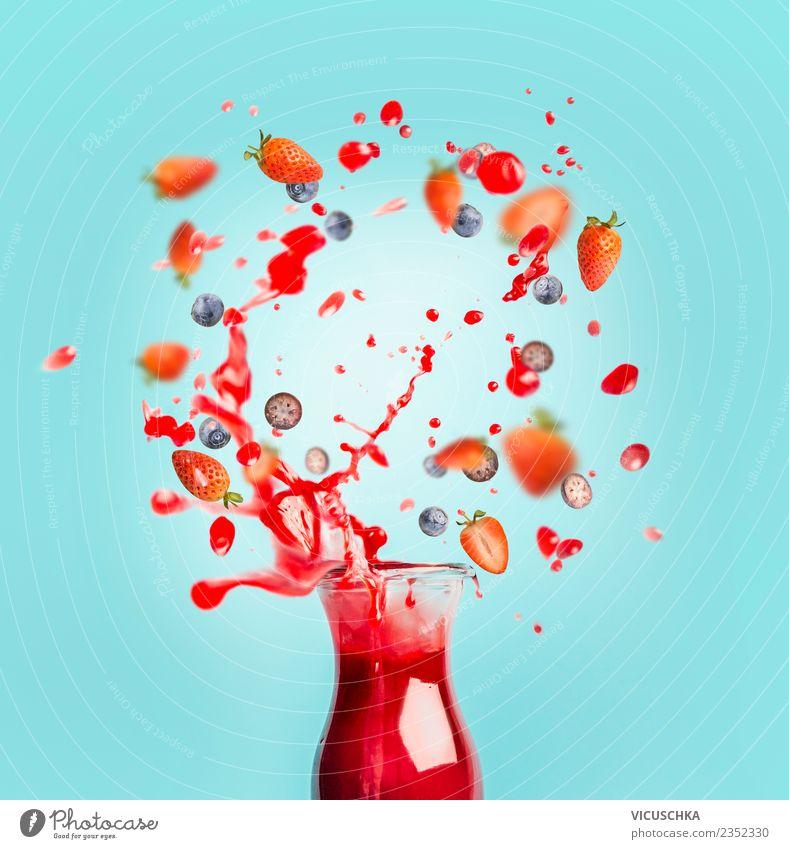 Red Juice or Smoothie Drink with Splash and Berries Food Fruit Beverage Cold drink Lemonade Style Design Healthy Healthy Eating Summer Milkshake splash Drop