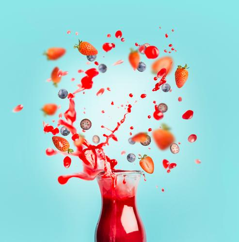 Summer Healthy Eating Food photograph Style Design Fruit Beverage Drop Berries Bottle Floating Cold drink Juice Lemonade