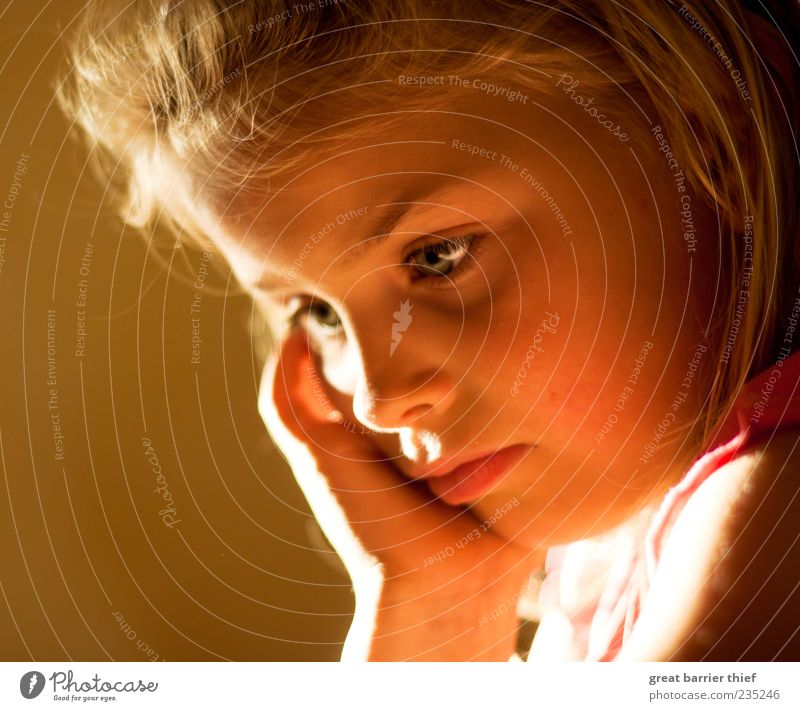 Thinking girl Human being Feminine Girl Infancy Head 1 3 - 8 years Child Listen to music Multicoloured Trust Safety Beautiful Looking Life Colour photo