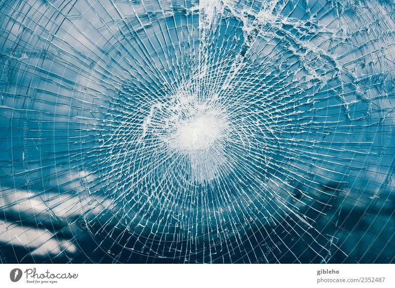 Broken Glass Old Blue Car Glittering Dangerous Break Safety Anger Stress Transparent Chaos Sharp-edged Force Crack & Rip & Tear