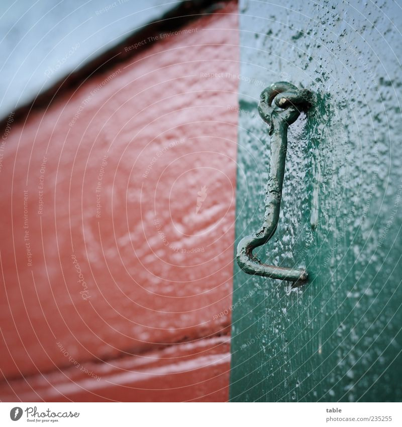 detail House (Residential Structure) Wall (barrier) Wall (building) Facade Window Shutter Checkmark Closure Wood Metal Hang Old Green Red Colour Colour photo