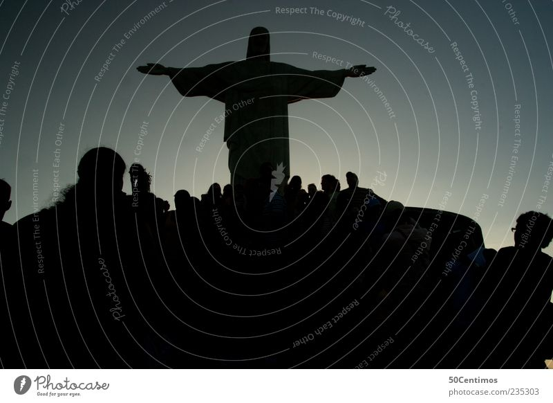 Silhouette of Cristo in Rio de Janeiro Human being Group Brazil Tourist Attraction Landmark Observe Discover Vacation & Travel Looking Esthetic Famousness