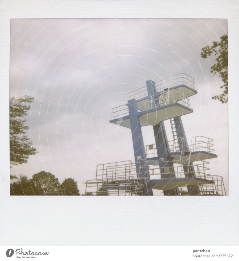 lightbox vollmachen Sporting Complex Swimming pool Springboard Sky Tree Colour photo Polaroid Copy Space bottom Day Deserted Tall Copy Space top Clouds