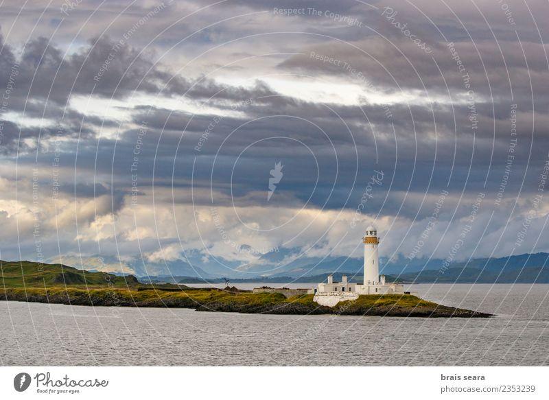 Eilean Musdile Lighthouse Sky Vacation & Travel Blue Summer Green Landscape White Ocean Loneliness Clouds Beach Mountain Dark Architecture Coast Tourism