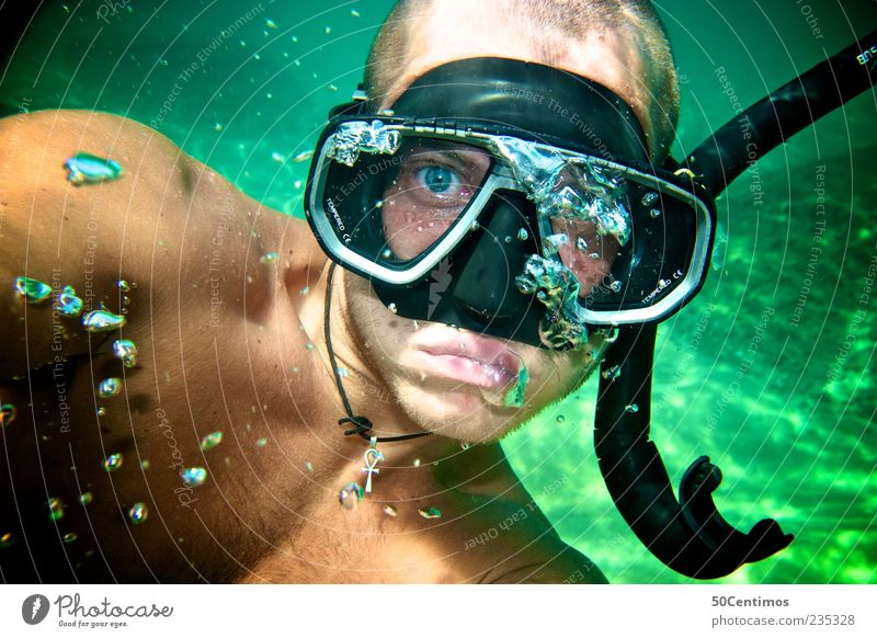Human being Youth (Young adults) Green Face Adults Moody Leisure and hobbies Swimming & Bathing Masculine 18 - 30 years Young man Dive Air bubble Short-haired