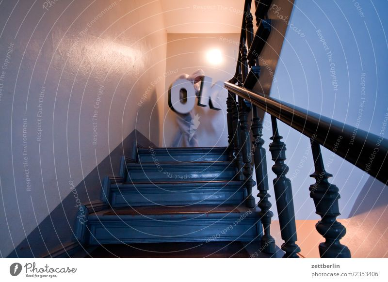 OK (6) Landing Descent Downward Go up Upward Window Handrail Banister House (Residential Structure) Man Apartment house Human being Deserted