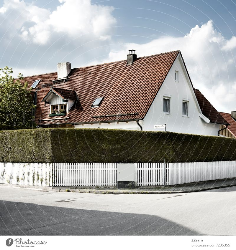 Sky Nature Clouds House (Residential Structure) Street Garden Building Arrangement Esthetic Living or residing Bushes Gloomy Clean Simple Idyll Manmade structures