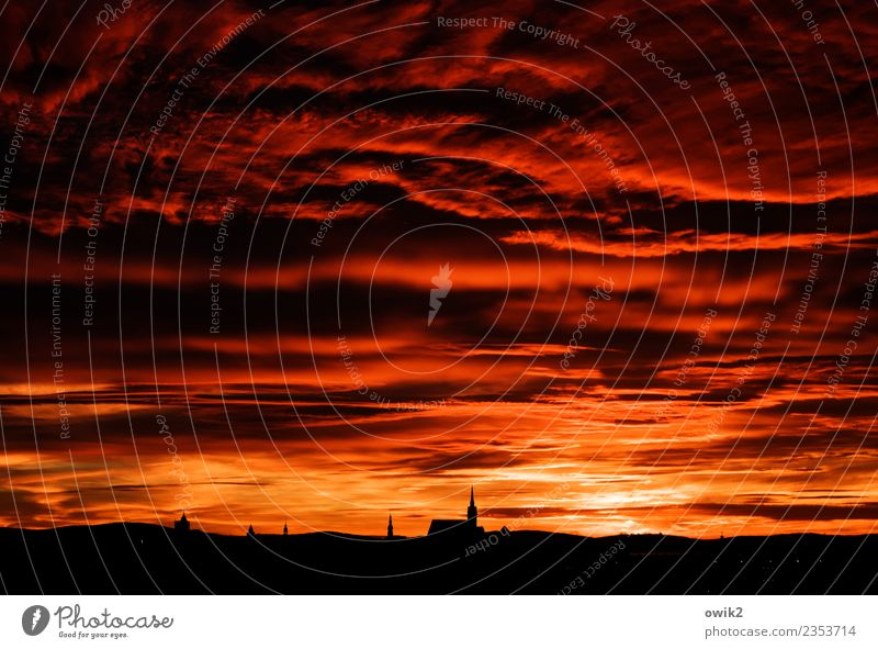 Sky Landscape Red Clouds Far-off places Black Germany Orange Horizon Church Idyll Skyline Downtown Dome Small Town Lausitz forest