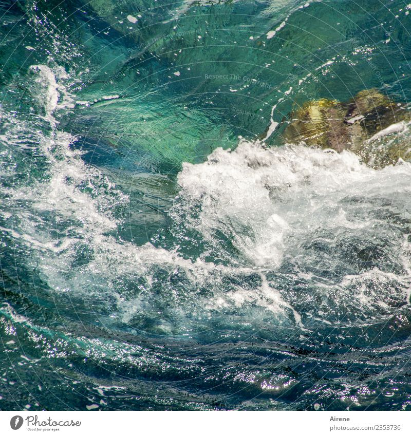 Vacation & Travel Blue Water White Ocean Movement Wild Waves Power Threat Summer vacation Turquoise Gale Chaos Maritime Reef