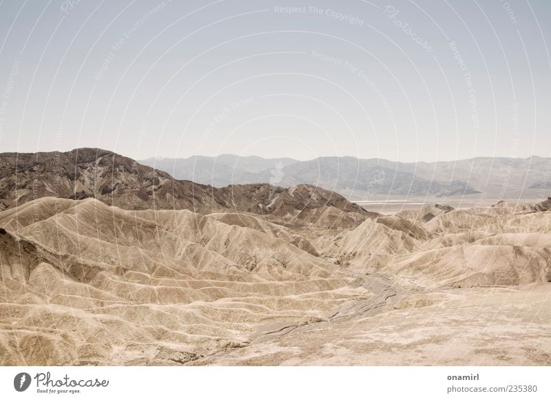 Zabriskie Point - Death Valley Landscape Earth Sand Cloudless sky Horizon Warmth Drought Rock Canyon Desert Infinity Hot Dry Blue Brown Gray Longing Wanderlust