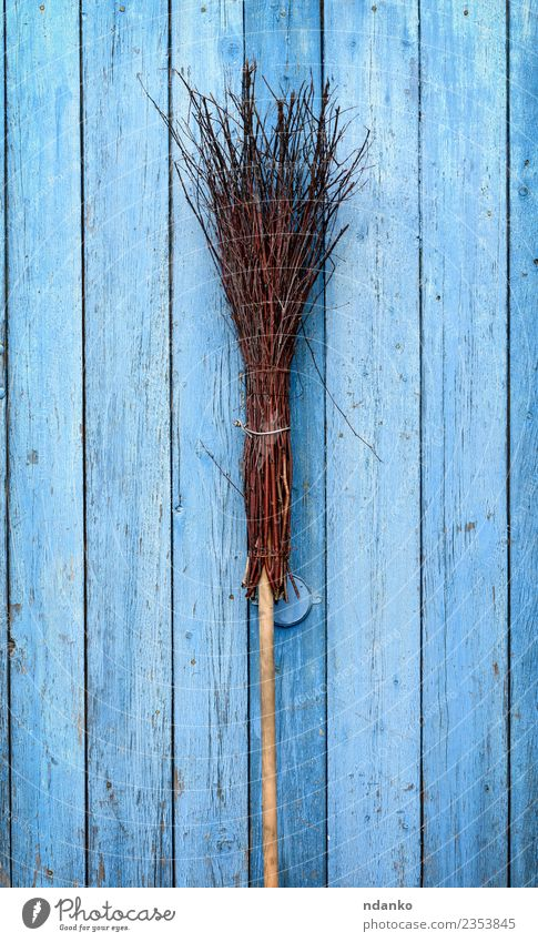broom with a wooden handle Wood Old Retro Blue Brown Idea Broomstick Object photography equipment Witch brush vintage cleaning Domestic Housekeeping cleaner