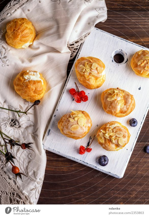 baked profiteroles Food Dessert Candy Nutrition Wood Fresh Delicious White appetizer background Baking Bakery Butter cake cooking cream Creamy custard eclair