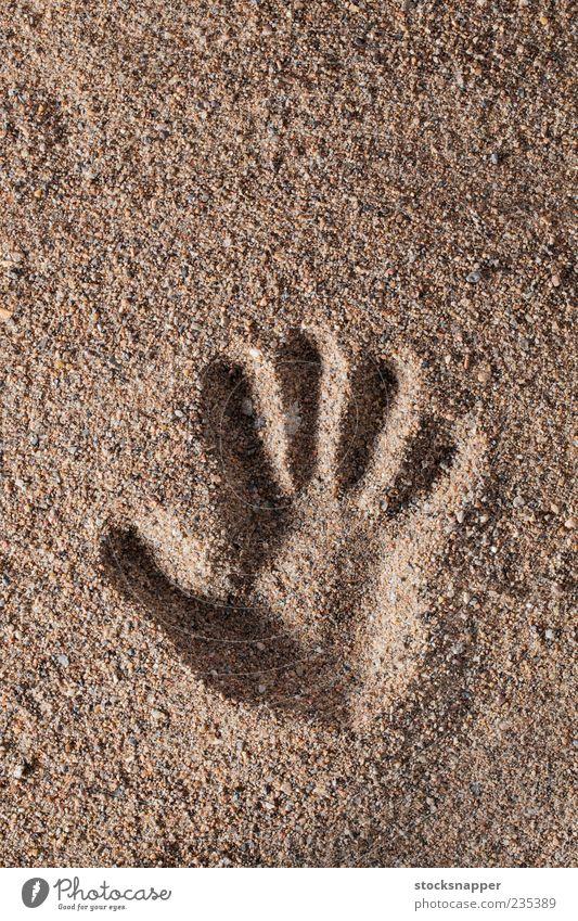 Handprint hand print Sand Raw Fingers Mark handprint Natural touch shape Deserted Consistency textured