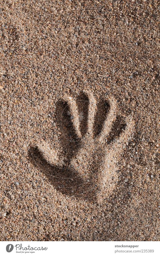 Handprint Hand Sand Fingers Natural Raw Consistency Mark Human being