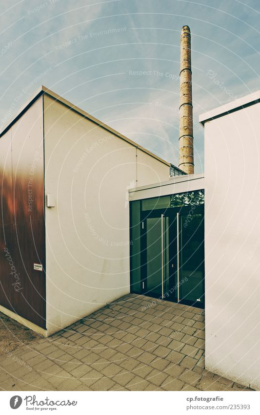 Sky Summer Wall (building) Architecture Wall (barrier) Building Door Glass Facade Modern Simple Beautiful weather Factory Manmade structures Plaster Chimney