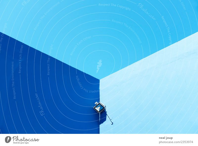 Three colours blue Floodlight Alarm system Cloudless sky Summer Greece Wall (barrier) Wall (building) Esthetic Sharp-edged Bright Blue Watchfulness Calm
