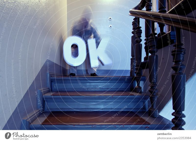 Human being Man House (Residential Structure) Wall (building) Copy Space Living or residing Stairs Handrail Apartment Building Mask Staircase (Hallway) Banister