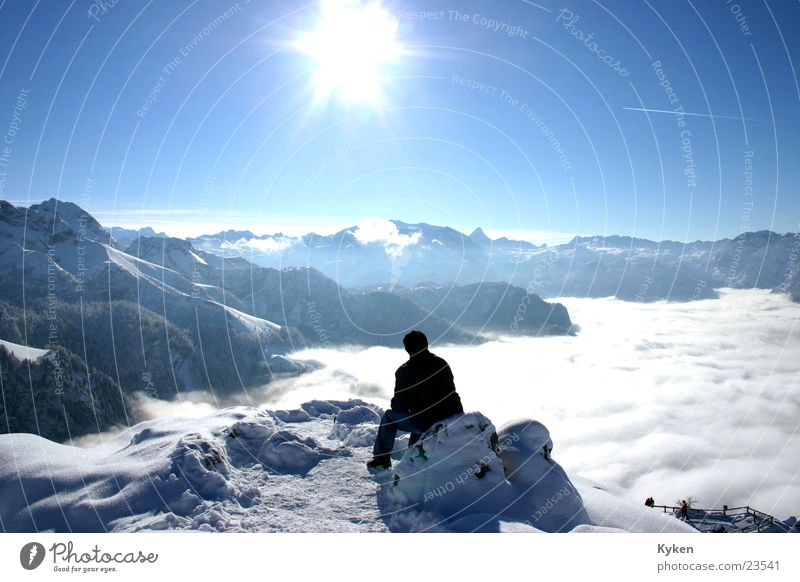Man White Sun Blue Winter Clouds Loneliness Cold Snow Mountain Think Fog Vantage point Climbing Peak Slope