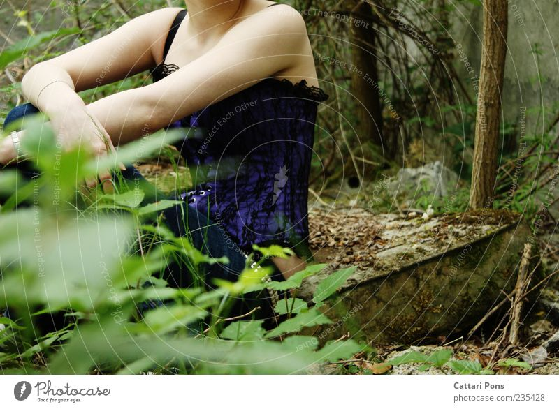 Human being Woman Nature Youth (Young adults) Green Plant Leaf Loneliness Calm Forest Adults Feminine Grass Wait Sit Young woman