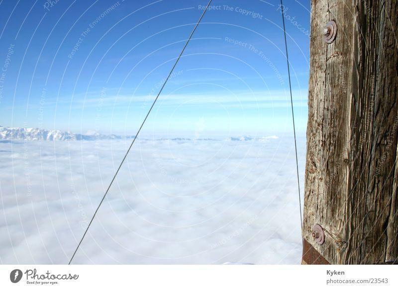 White Sun Blue Winter Clouds Cold Snow Mountain Fog Vantage point Climbing Peak Slope